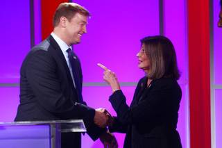 Sen. Dean Heller and challenger Shelley Berkley congratulate each other after their debate at Vegas PBS on Thursday, Oct. 11, 2012.