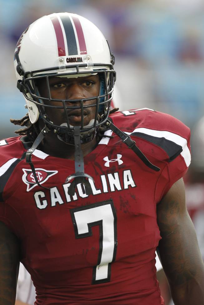 South Carolina Gamecocks's Jadeveon Clowney (7) warms up before a NCAA college football game against East Carolina in Charlotte, N.C., Saturday, Sept. 3, 2011. South Carolina defeated East Carolina 56-37.