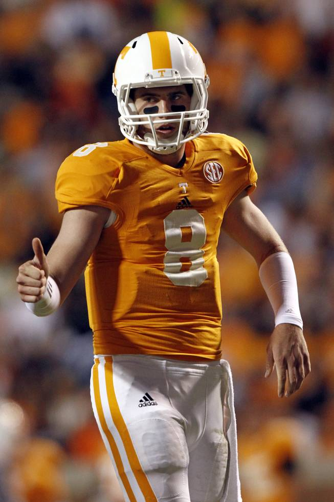 Tennessee Volunteers quarterback Tyler Bray (8) during the first half of an NCAA college football game between Akron and Tennessee on Saturday, Sept. 22, 2012, in Knoxville, Tenn.