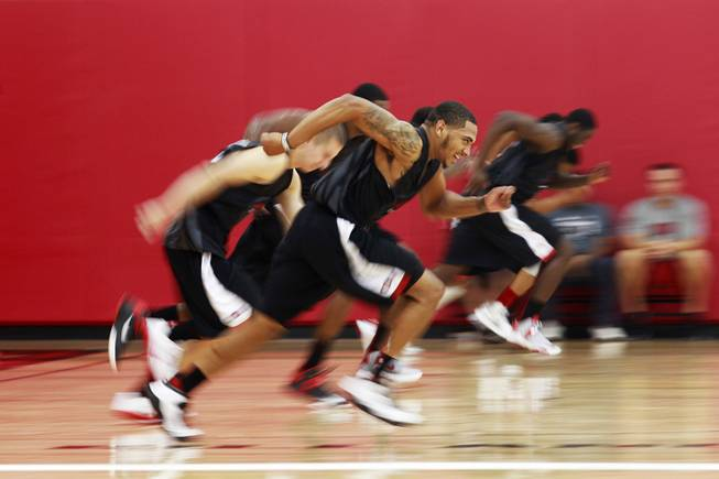 UNLV guard Anthony Marshall does sprints with the rest of the team during the Rebels first official practice Friday, Oct. 12, 2012.