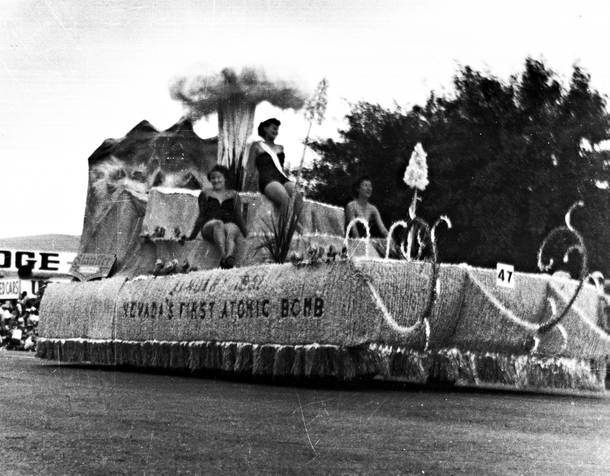 The float for the first atomic bomb test, circa 1951.