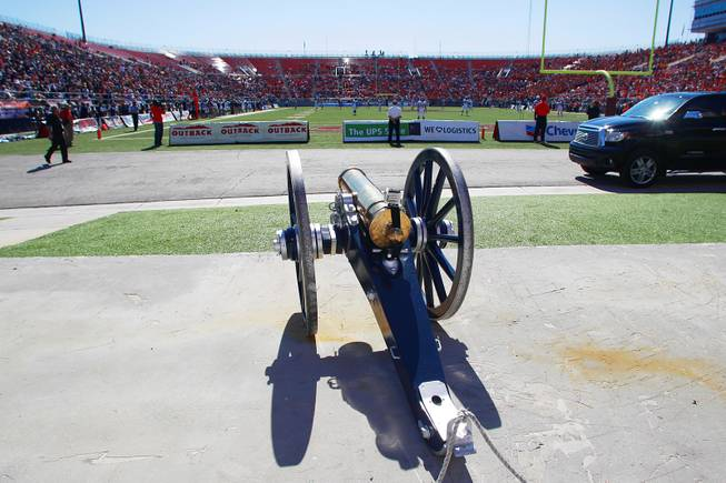 The Fremont Canon sits outside the end zone at Sam Boyd Stadium during the game between UNLV and UNRSaturday, Oct. 13, 2012 at Sam Boyd Stadium. UNR came from behind and won the game, for the eighth consecutive time, 42-37.