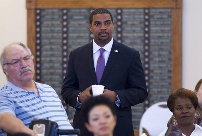 Steven Horsford, candidate for the state's 4th Congressional District, waits for a debate with Danny Tarkanian at Temple Sinai of Las Vegas in Summerlin Sunday, Oct. 14, 2012. The temple's Men's Club sponsored the debate.