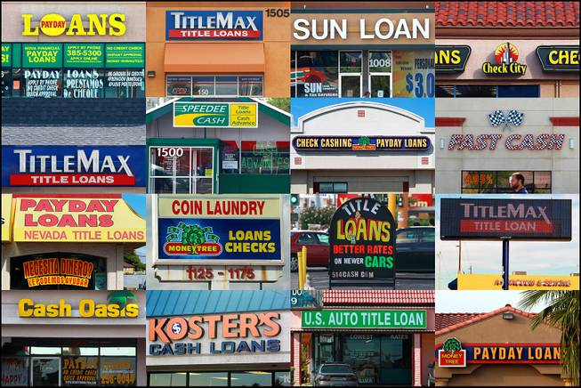 Photos show some of the payday loan businesses located on a stretch of Charleston Boulevard between Eastern Avenue and Rainbow Boulevard.