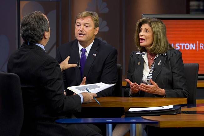 "Dean Heller and Shelley Berkley, candidates for Nevada's U.S. Senate seat, debate on the ""Ralston Reports"" television program at the KSNV-Channel 3 studios Monday, Oct. 15, 2012."