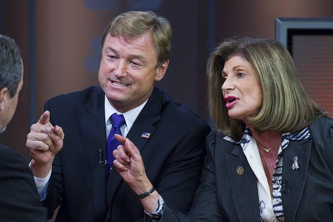 "Republican Dean Heller and Democrat Shelley Berkley, candidates for Nevada's U.S. Senate seat, debate on ""Ralston Reports"" at the KSNV-Channel 3 studios Monday, Oct. 15, 2012."