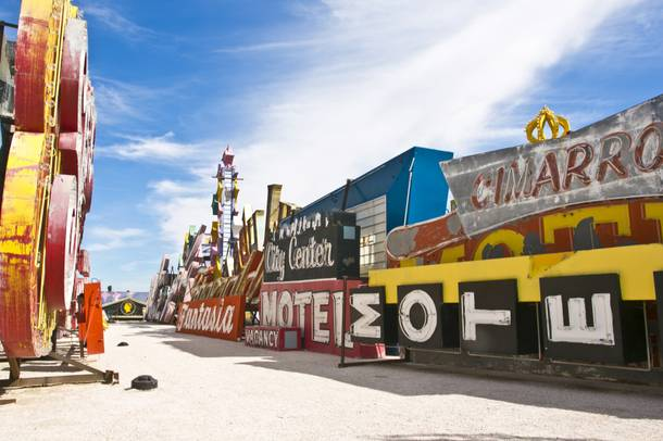 Historic landmark signs are displayed at the Neon Museum's Boneyard.