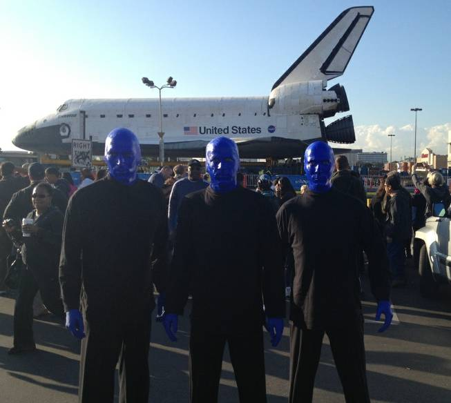 Blue Man Group at the space shuttle Endeavor in California on Friday, Oct. 12, 2012.