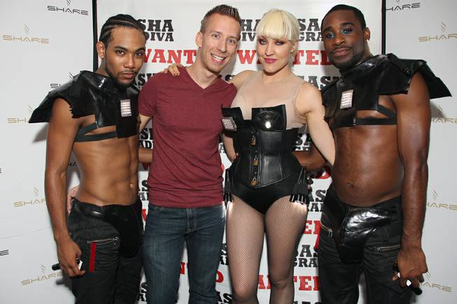 J.Son, second from left, and Sasha Gradiva, second from right, at Share.
