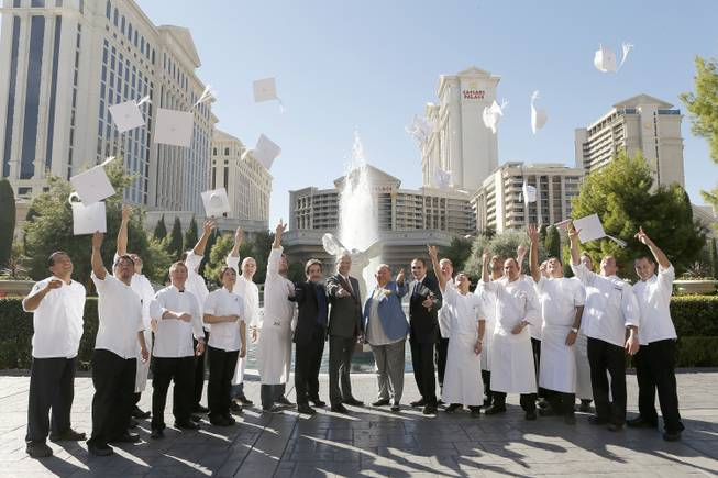 Caesars Palace chefs, entertainment producer Richard Gore, Caesars Palace President Gary Selesner, Food Network co-founder Robin Leach and Cleveland Clinic Lou Ruvo Center for Brain Health Chairman Dr. Jeffrey L. Cummings announce the inaugural Food University Las Vegas at Caesars Palace on Tuesday, Oct. 16, 2012.