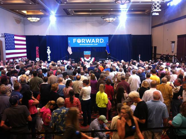 A modest-sized crowd awaits Vice President Joe Biden's arrival at the Reno Ballroom.