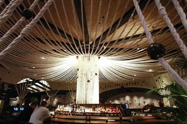 A rope canopy over the bar at Javier's in Aria Oct. 18, 2012.