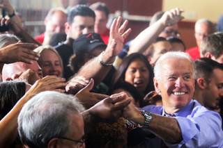 Vice President Joe Biden greets the crowd after a rally at the Culinary Academy in Las Vegas on Thursday, October 18, 2012.