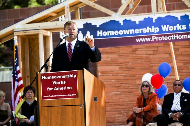Sen. Dean Heller speaks at a homeownership rally at the Clark County Government Center Amphitheater in Las Vegas Thursday, Oct. 18, 2012.