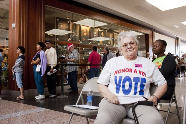 As an observer for the Democratic Party, Sam Michael watches for quality control at the voting booths at Boulevard Mall on the first day of early voting, Saturday, Oct. 20, 2012.