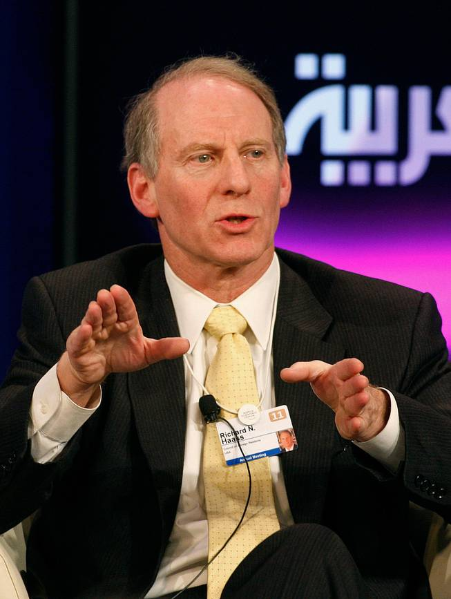 Richard Haass, president of the Council on Foreign Relations, speaks during a session at the World Economic Forum in Davos, Switzerland, Jan. 28, 2011. Haass spoke at an Anti-Defamation League function in Las Vegas on Thursday.