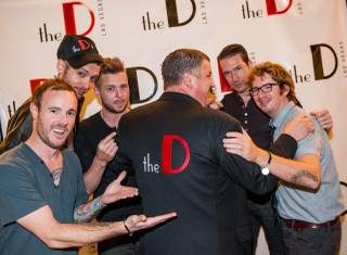 The D Las Vegas opening-weekend celebration with OneRepublic and frontman Ryan Tedder, Dave Perrico and Pop Evolution and D Las Vegas owner Derek Stevens on Saturday, Oct. 20, 2012.