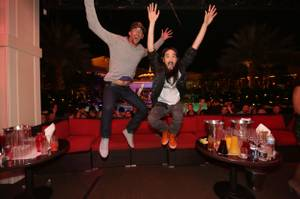 Michael Phelps and DJ Steve Aoki at XS