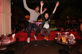 Michael Phelps and DJ Steve Aoki at XS in the Encore.