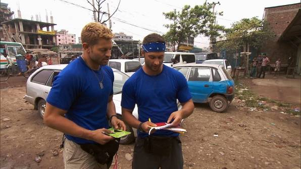 "Jaymes Vaughan and James Davis of Chippendales at the Rio compete on ""The Amazing Race"" on Sunday, Oct. 21, 2012."