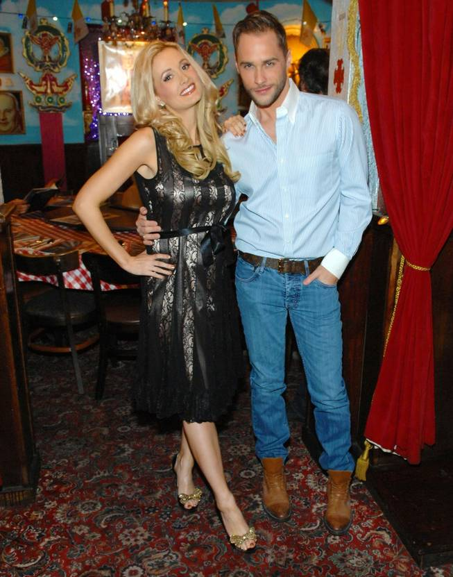 "Holly Madison celebrates her final show in ""Peepshow"" at Planet Hollywood with a gathering at Buca di Beppo that included Josh Strickland on Sunday, Oct. 21, 2012."