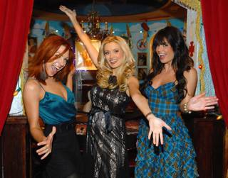 Holly Madison, center, celebrates her final show in
