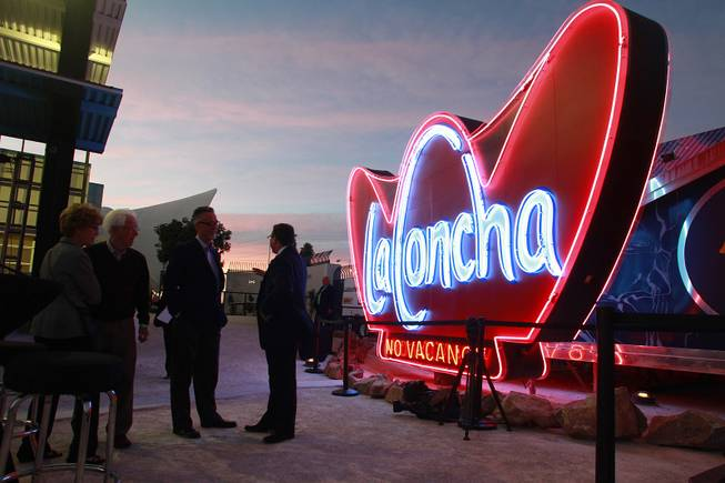 Signs from Las Vegas' past are seen during the grand opening of the Neon Museum on Tuesday, Oct. 23, 2012.