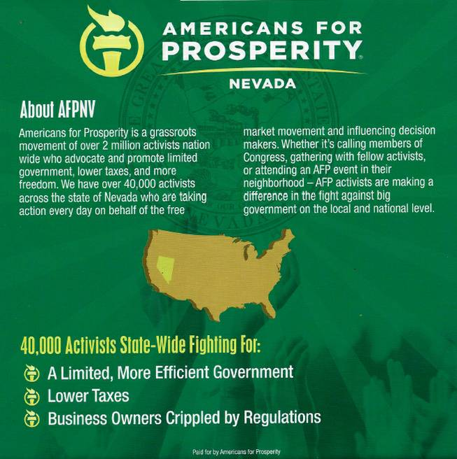 The back page of an Americans For Prosperity mailer targeting Sheila Leslie's economic policies presents information about the organization.