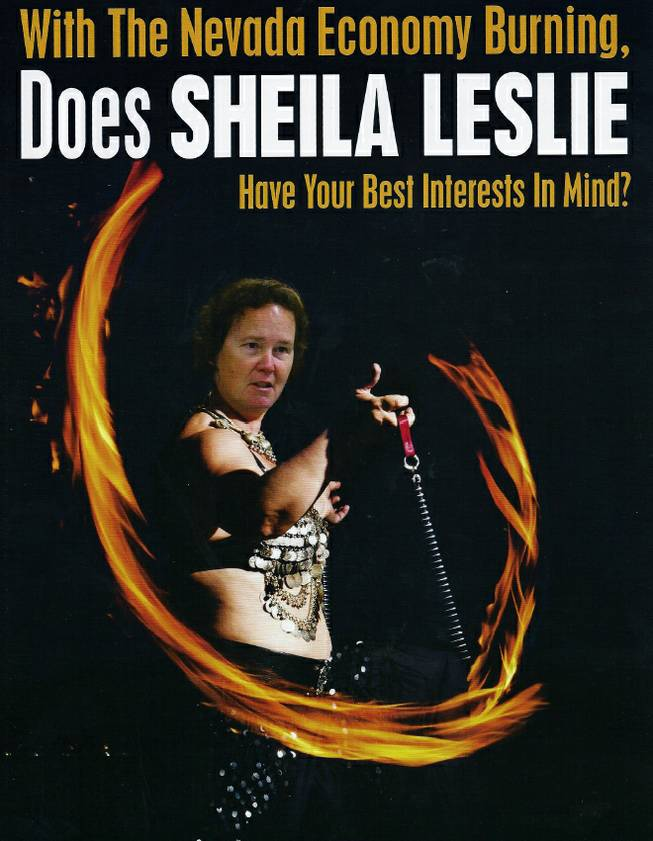 An Americans For Prosperity mailer targets Sheila Leslie's economic policies.