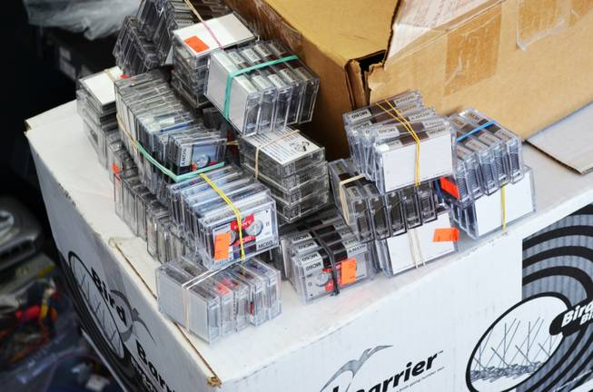 Tapes of musical recordings from Randy Williams are seen at Las Vegas E-Waste after Williams recovered them on Thursday, Oct. 25, 2012.