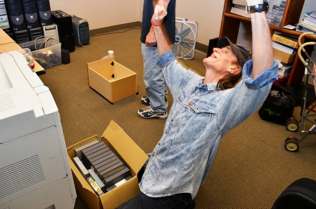 Randy Williams is ecstatic after finding his video tapes of 1994 performances, which ended up at Las Vegas E-Waste, Thursday, Oct. 25, 2012.