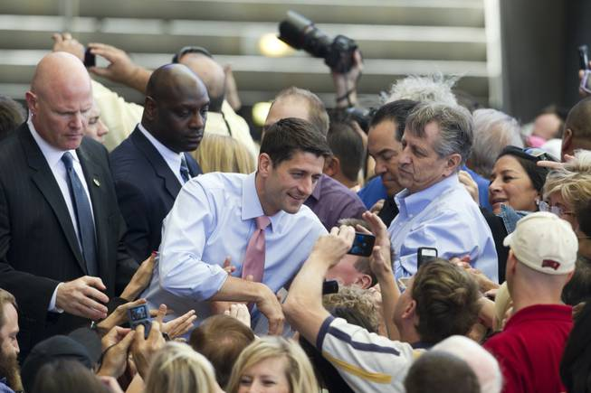 Republican vice presidential candidate Paul Ryan poses for a photo during a campaign rally at the Henderson Pavilion Tuesday, Oct. 23, 2012. STEVE MARCUS
