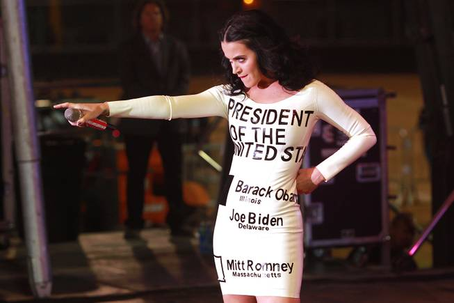 Singer Katy Perry performs during a campaign event for President Barack Obama Wednesday, Oct. 24, 2012 at Doolittle Park. An estimated 13,000 turned out for his ninth visit to Nevada this year.