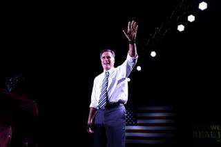 Republican presidential candidate, former Massachusetts Gov. Mitt Romney takes the stage at an election campaign rally at the Reno Event Center in Reno, Nev., Wednesday, Oct. 24, 2012.