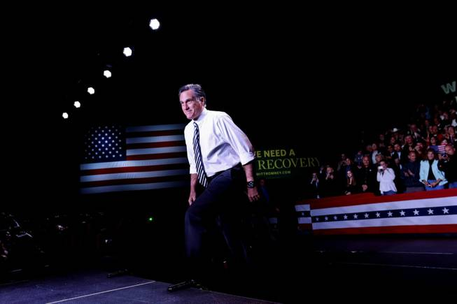 Republican presidential candidate, former Massachusetts Gov. Mitt Romney arrives at an election campaign rally at the Reno Event Center in Reno, Nev., Wednesday, Oct. 24, 2012.