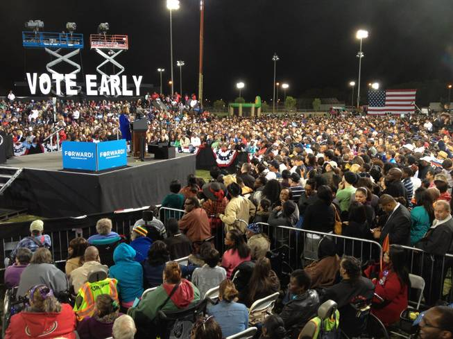 Senate candidate Shelley Berkley addresses the crowd as they wait to hear from President Barack Obama at Doolittle Park in Las Vegas, Wednesday, Oct. 24, 2012.