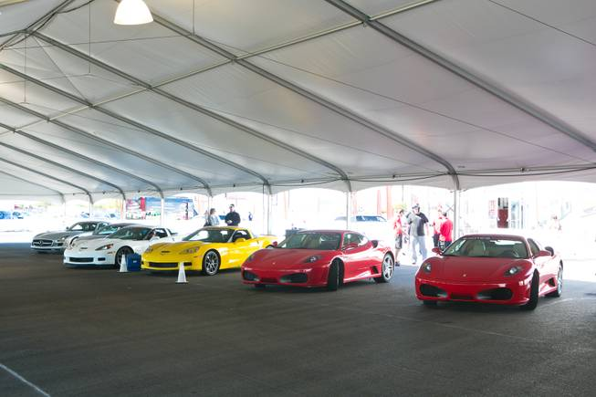 A view of some of the high performance sports cars available to drive at Exotics Racing Las Vegas, Thursday Oct. 25, 2012.