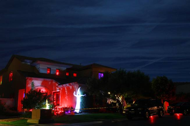 The front of Vonny and Grant Traub's house that has been decorated for Halloween Friday, Oct. 26, 2012.