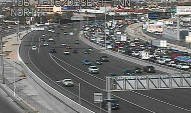 This screen grab from a freeway traffic camera on Interstate 15 near Desert Inn Road shows the traffic backup from a crash Friday afternoon that involved Sen. Harry Reid.