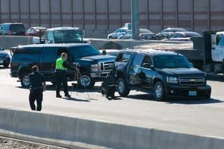 The scene of a five vehicle accident involving U.S. Sen. Harry Reid's motorcade, Friday Oct. 26, 2012.