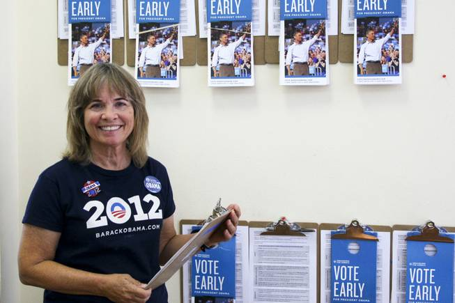 Democratic campaign volunteer Teresa Crawford, Friday, Oct. 26, 2012.
