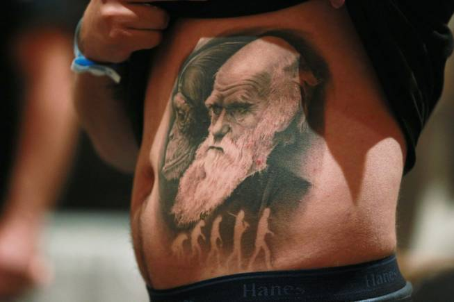 A man shows off his evolution themed tattoo at Mario Barth's Biggest Tattoo Show On Earth at the Mirage Saturday, Oct. 27, 2012.