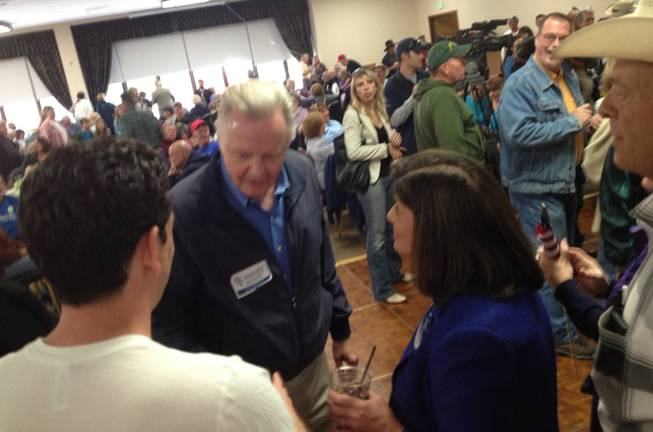 Rep. Shelley Berkley introduces herself to actor Jon Voight on Saturday at the annual Nevada Day Chili Feed in Carson City. Berkley is running for U.S. Senate, and Voight was in Nevada campaigning for Mitt Romney.