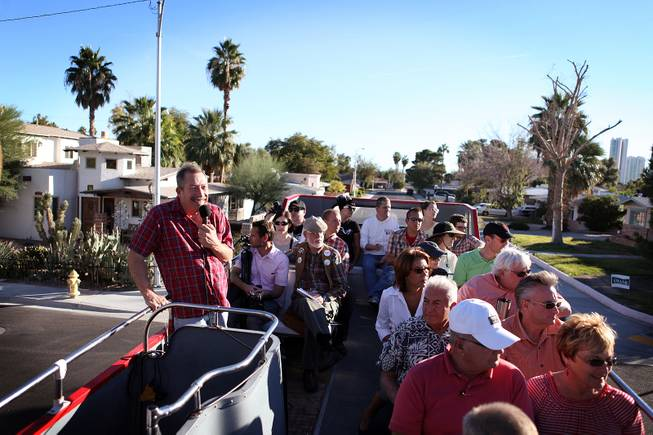 Realtor Jack Levine leads a midcentury modern bus tour of homes in Las Vegas on Sunday, October 28, 2012.