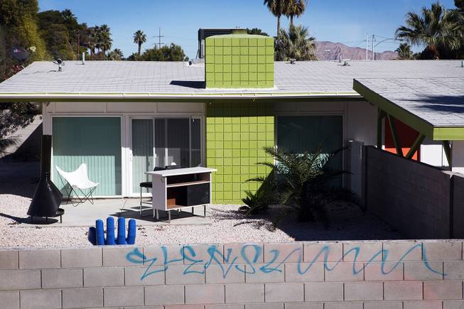 A home is seen in the Paradise Palms neighborhood during a midcentury modern bus tour of homes in Las Vegas on Sunday, October 28, 2012.