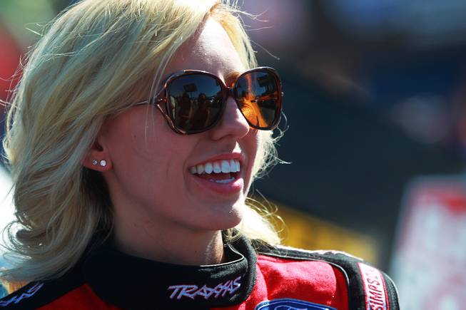 Courtney Force is seen before her race during the 12th Annual Big O Tires Nationals NHRA drag race on The Strip at Las Vegas Motor Speedway Sunday, Oct. 28, 2012.