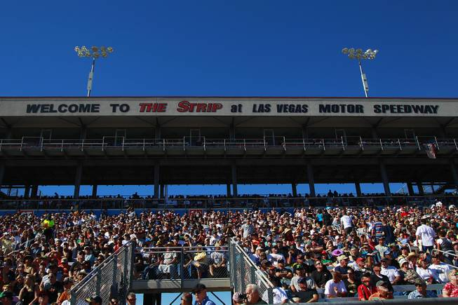 The grandstand is seen during the 12th Annual Big O Tires Nationals NHRA drag race on The Strip at Las Vegas Motor SpeedwaySunday, Oct. 28, 2012.