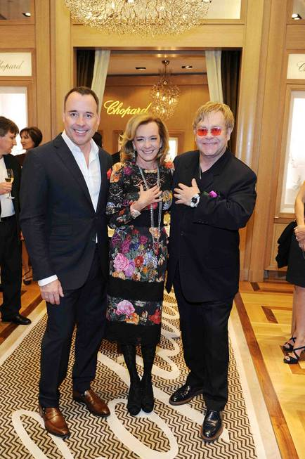 David Furnish, Caroline Scheufele and Sir Elton John at the ...