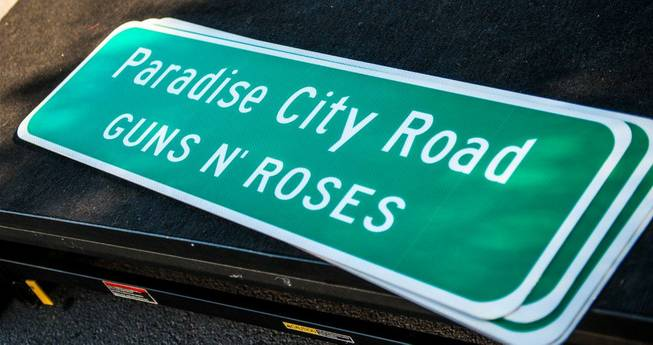 Paradise Road is temporarily renamed Paradise City Road on Monday, ...