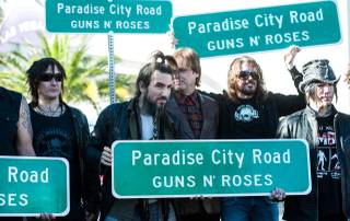 Paradise Road is temporarily renamed Paradise City Road on Monday, Oct. 29, 2012, in honor of Guns N' Roses' run at the Hard Rock Hotel from Oct. 31 through Nov. 24, 2012.